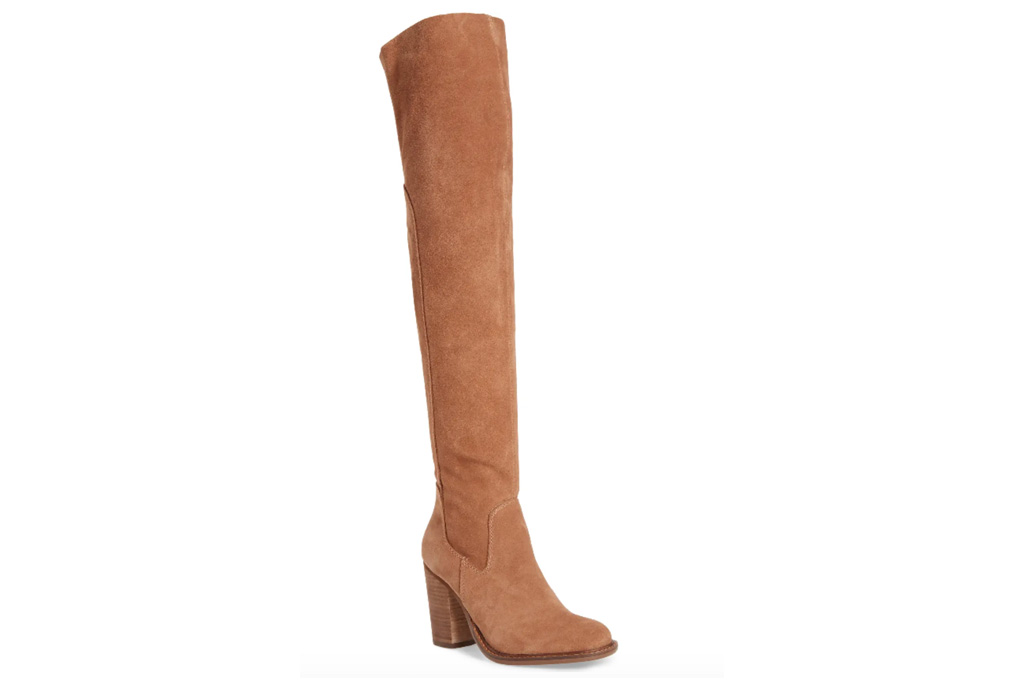 boots, thigh-high, suede, brown