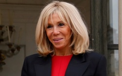 brigitte macron, heels, dress, coat, shoes,