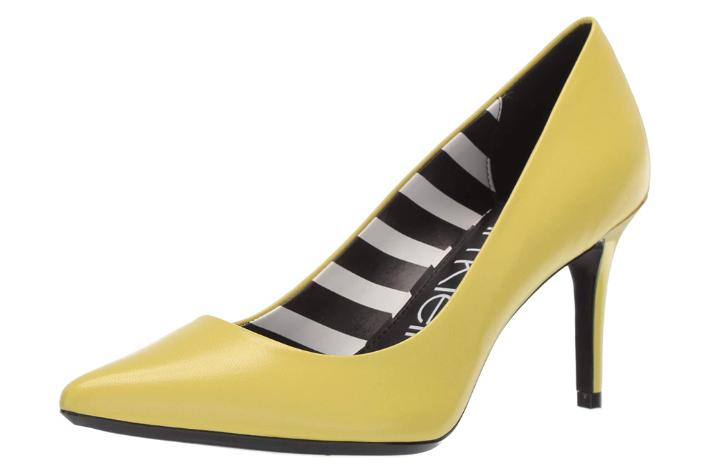 yellow, heels, pumps, stiletto, calvin klein