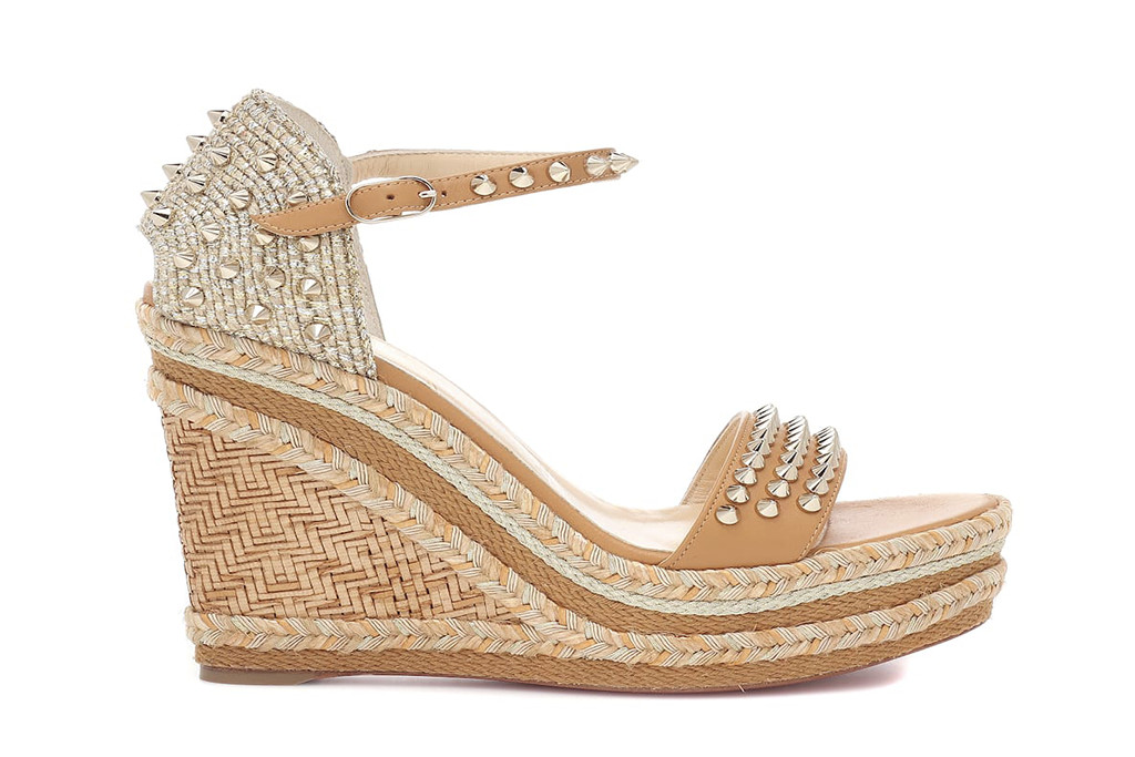christian louboutin studded espadrille wedges, Madmonica 120 espadrille sandals, sofia vergara studded sandals
