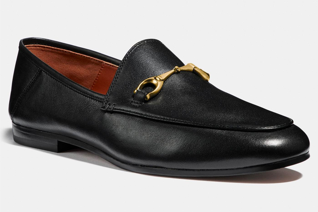 loafers, black, leather, gold, horsebit, coach