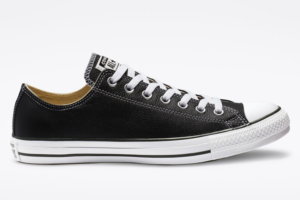 converse, sneakers, black, low top, leather