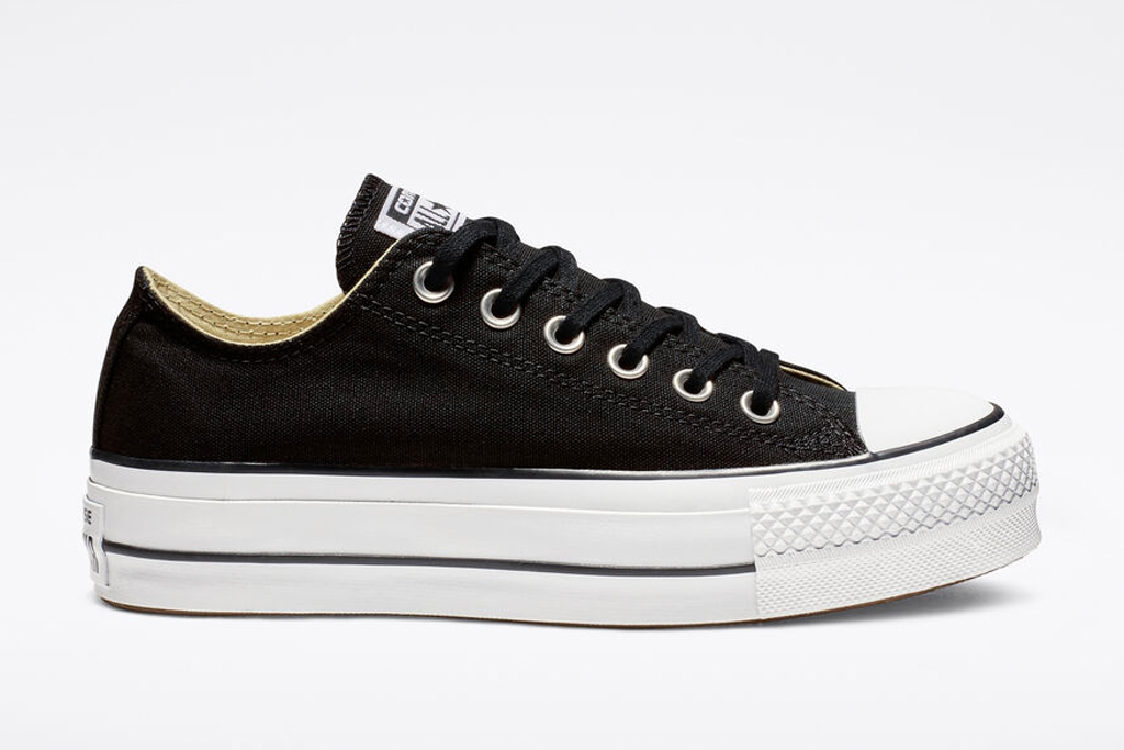 converse, sneakers, black, white, low-top, platform