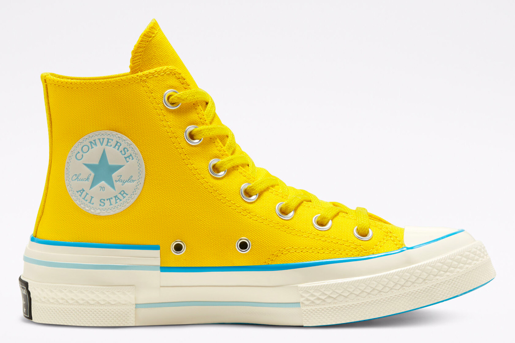 converse, yellow, sneakers, white, high top