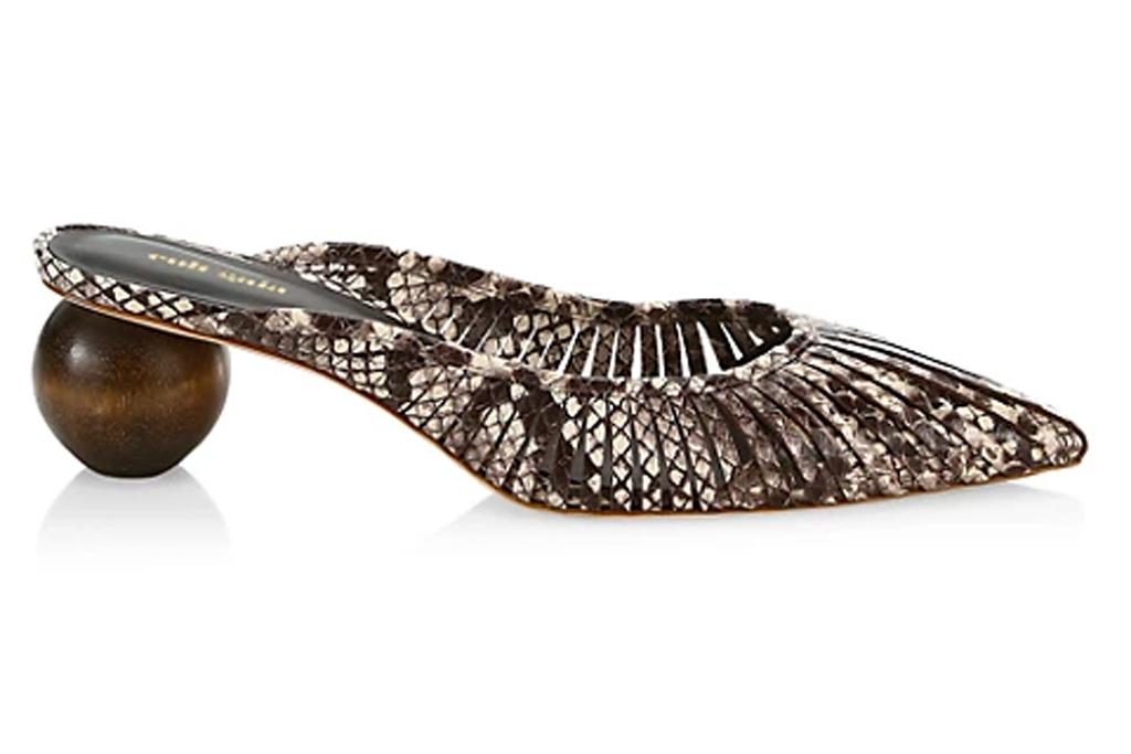 snakeskin, mules, heels, shoes, print, cult gaia