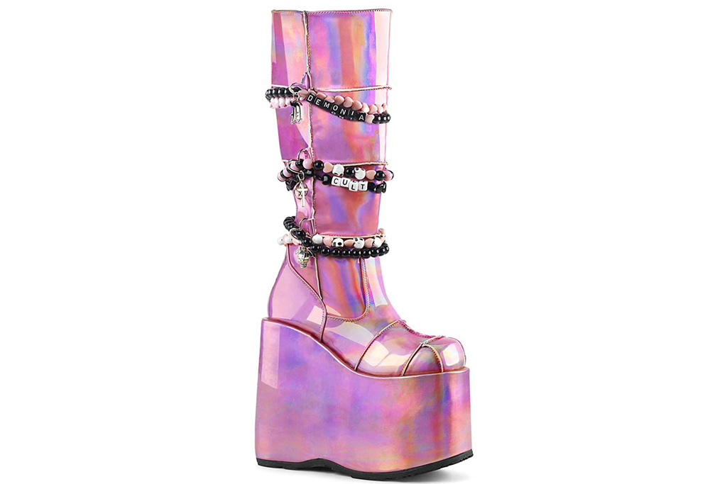 demonia, boots, pink, platform, slay
