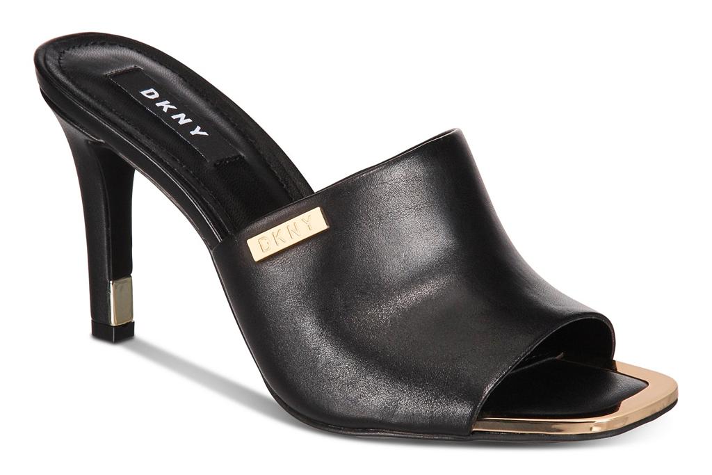 black, mules, heels, square, toe, dkny