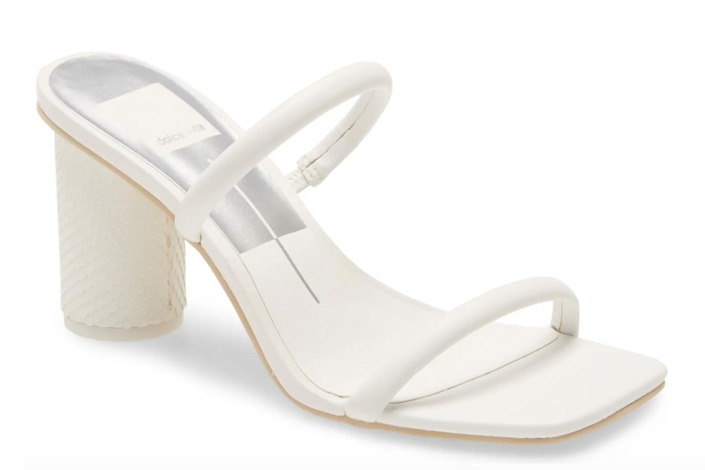 sandals, white, square toe, dolce vita