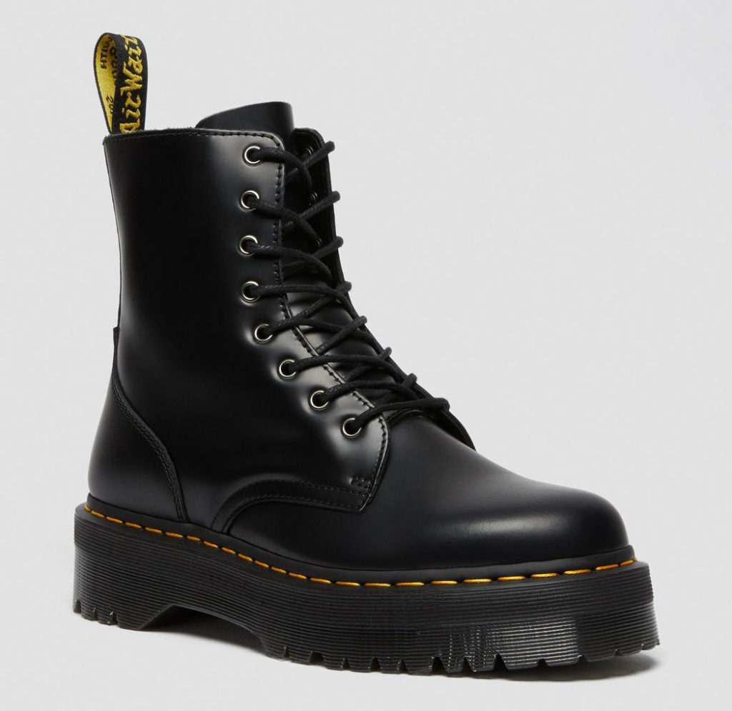 black boots, combat boots, lace-up, lug sole, dr martens, doc martens