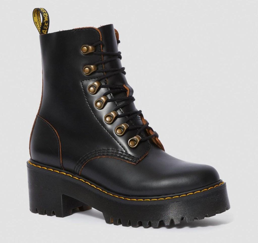black boots, booties, gold, dr. martens, doc martens