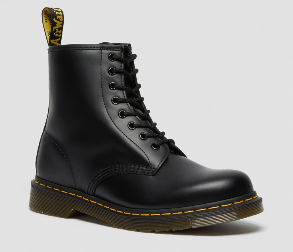 combat boots, black, leather, chunky, lace up, dr martens