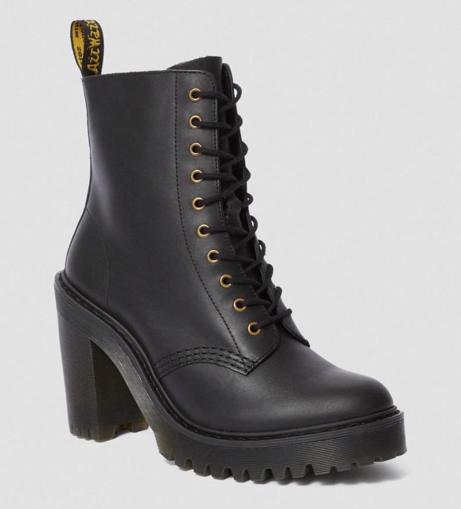 boots, combat boots, lace up, heeled, platform, black, dr martens