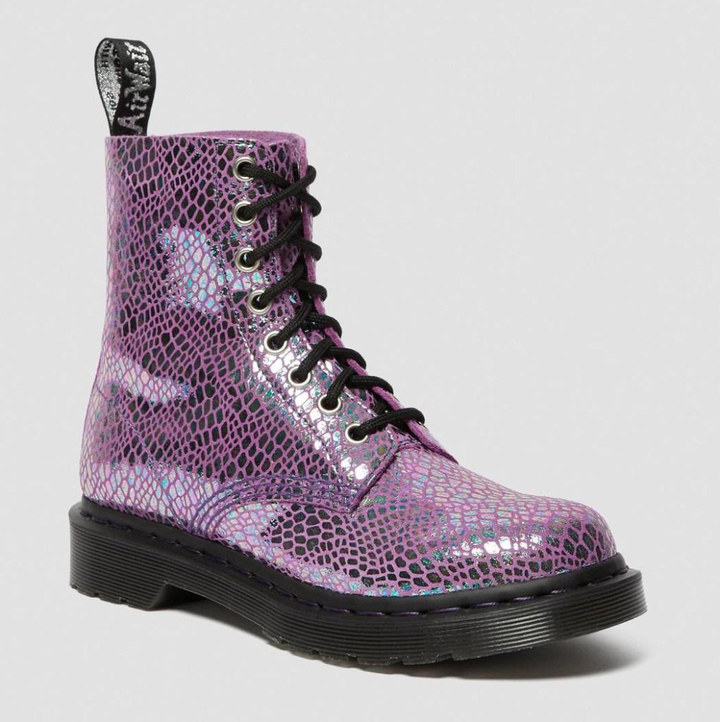 pink boots, metallic, pink, dr martens