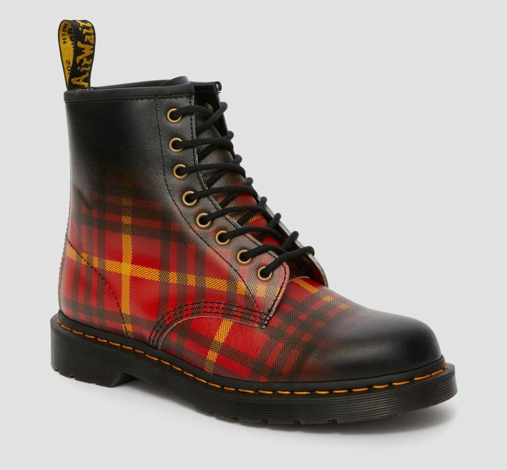 plaid boots, flannel, tartan, checkered, fall, dr martens, doc martens