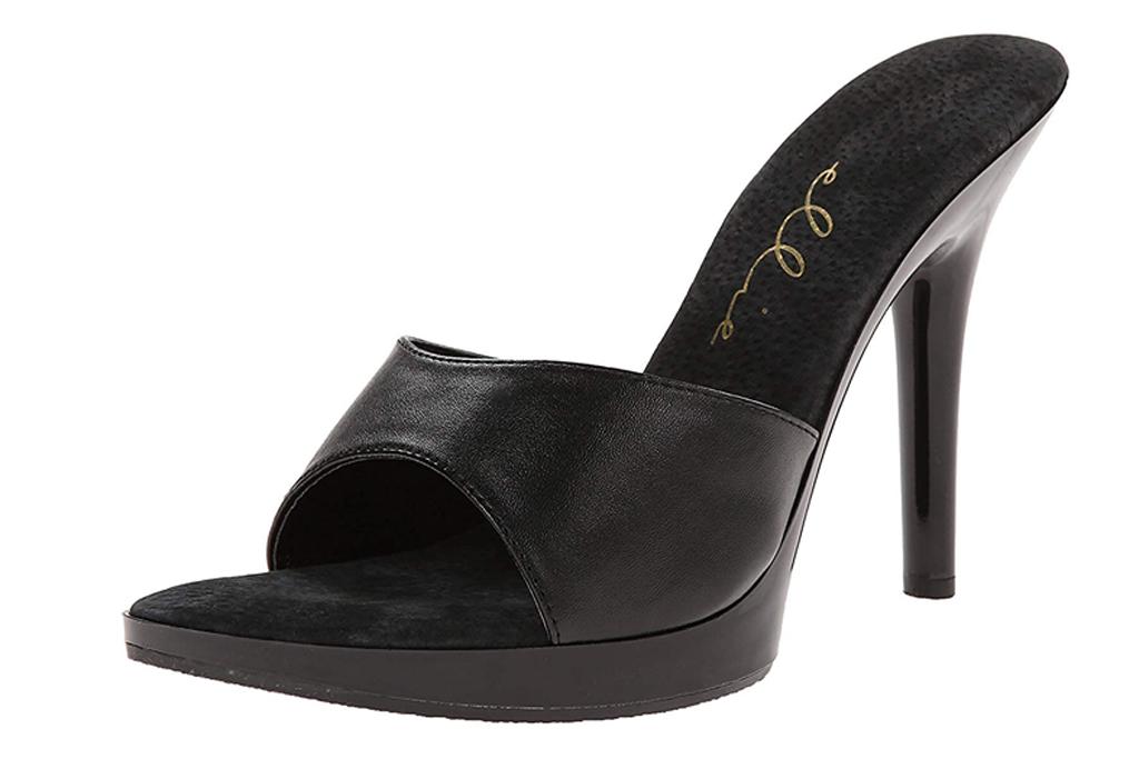 black heels, sandals, slip on, stiletto, shoes, mules, ellie shoes