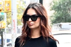 Emily Ratajkowski Debuts Her Baby Bump in a Peek-a-Boo Dress & Cherry Red Boots