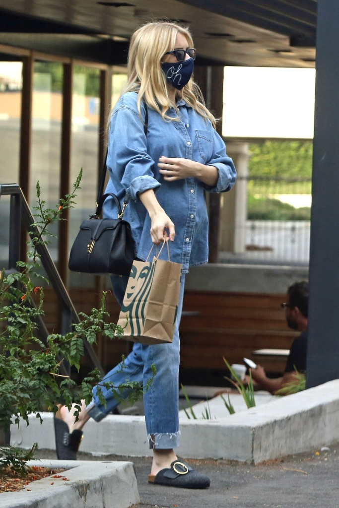 emma roberts, jean shirt, jeans, pants, denim, mask, shoes, clogs, purse, style