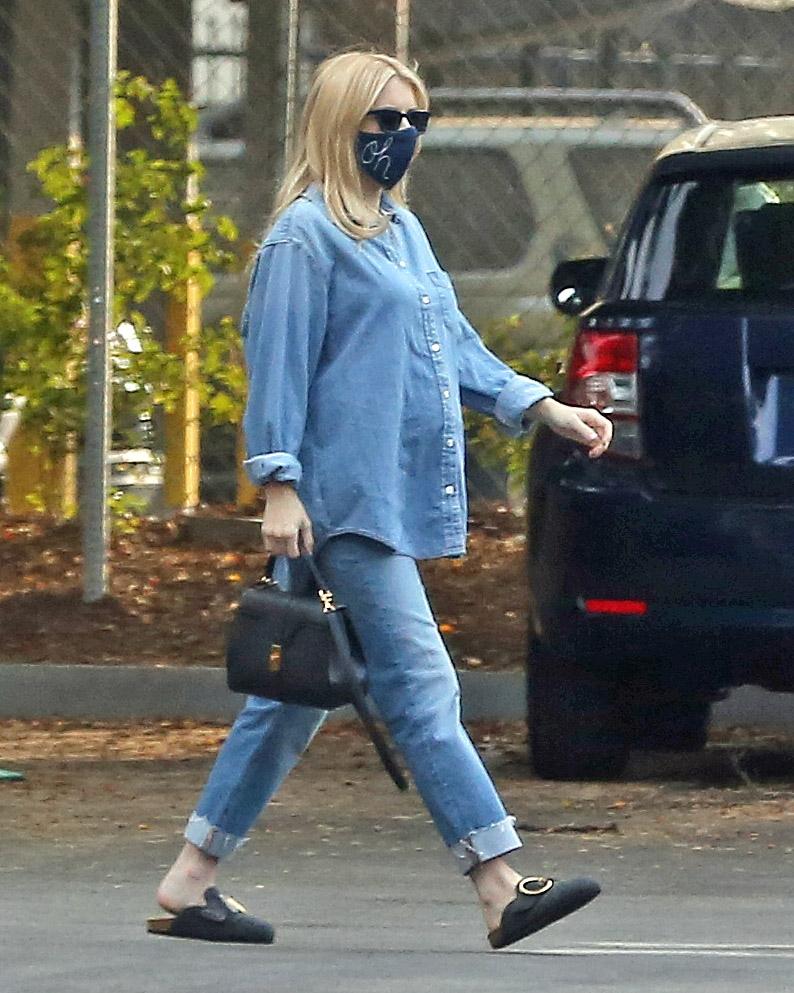 emma roberts, jean shirt, jeans, pants, denim, mask, shoes, clogs, purse, style