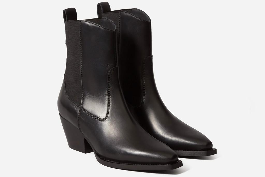 black boots, western, square toe, everlane