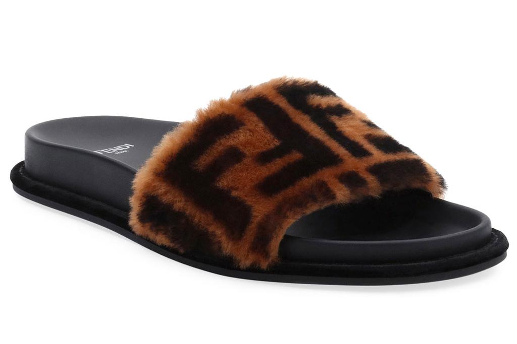fendi, slides, fur, shoes