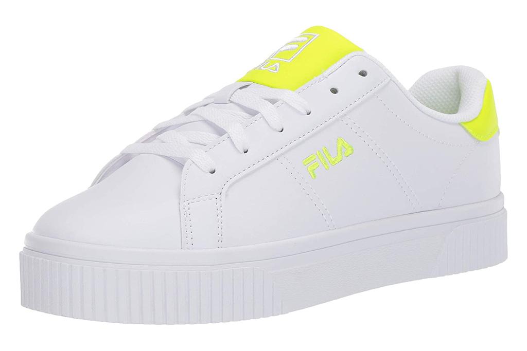 sneakers, yellow, white, fila