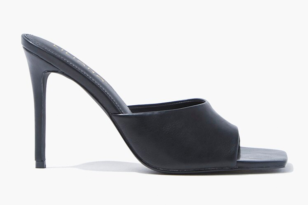 black heels, sandals, slip on, stiletto, shoes, mules, forever 21
