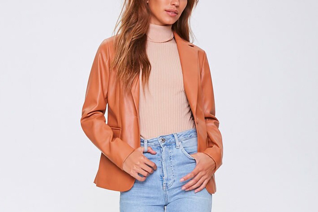 leather blazer, blazer, faux leather, fall, forever 21