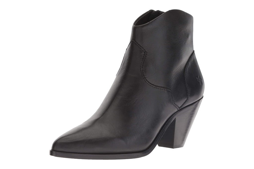 black boots, western, square toe, frye