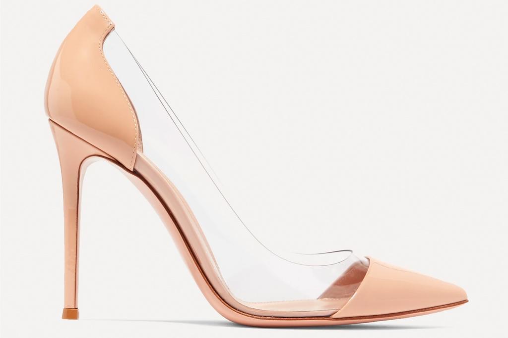 gianvito rossi, pvc heels, nude