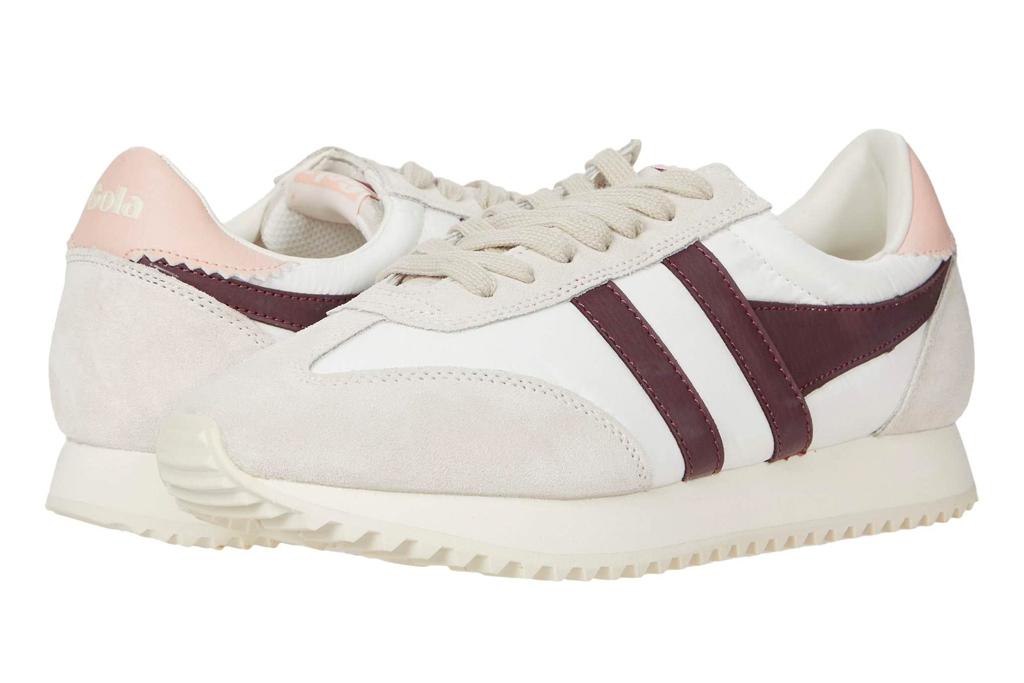 sneakers, white, burgundy, gola