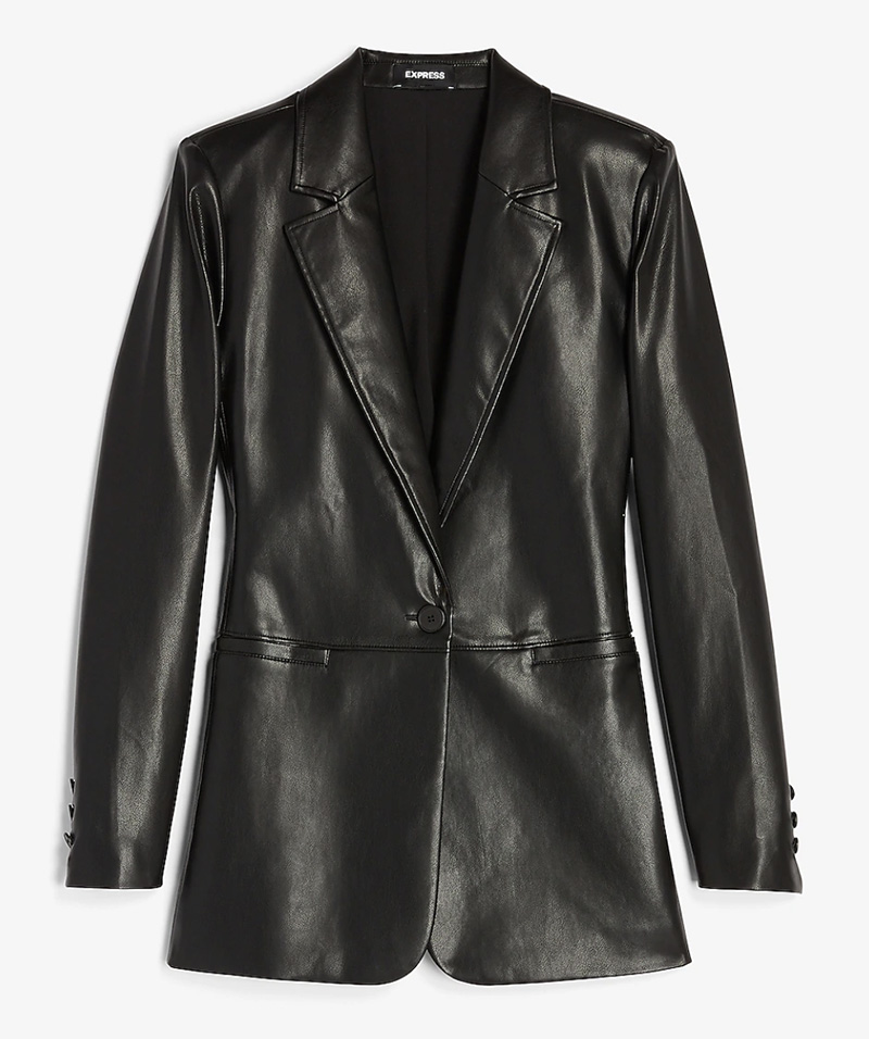 blazer, leather, vegan, express