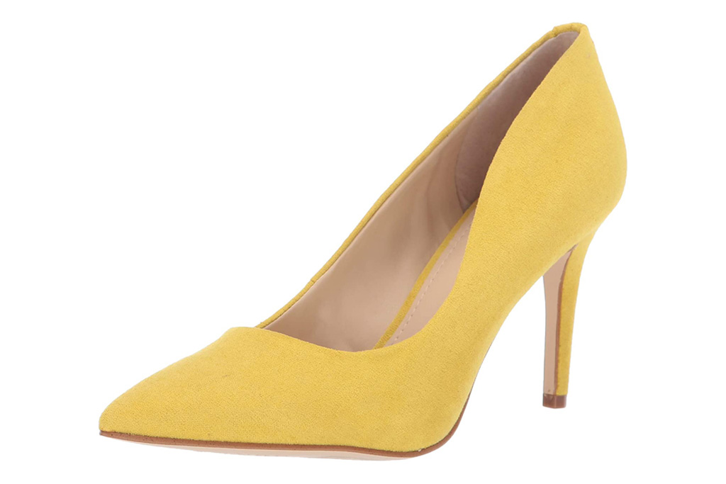 yellow, heels, pumps, stiletto, guess