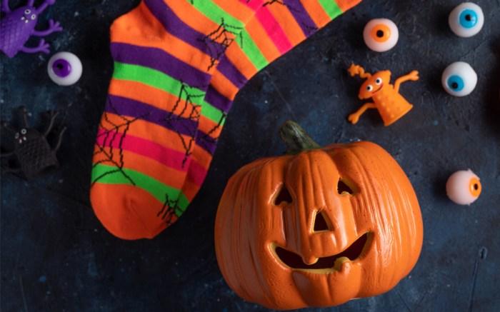 halloween, socks, pumpkin