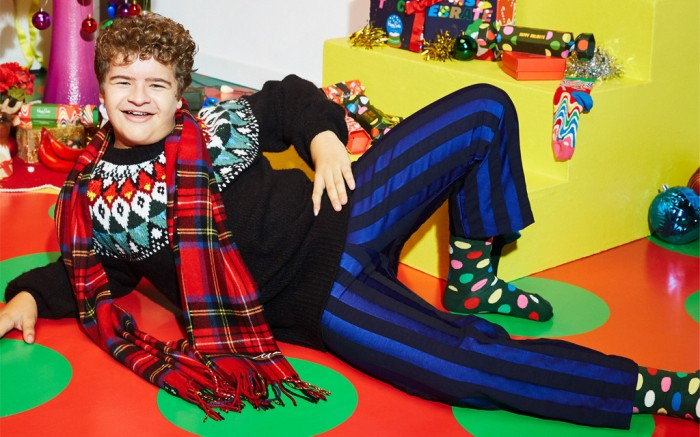 Gaten Matarazzo x Happy Socks, holiday happy socks, happy socks collab