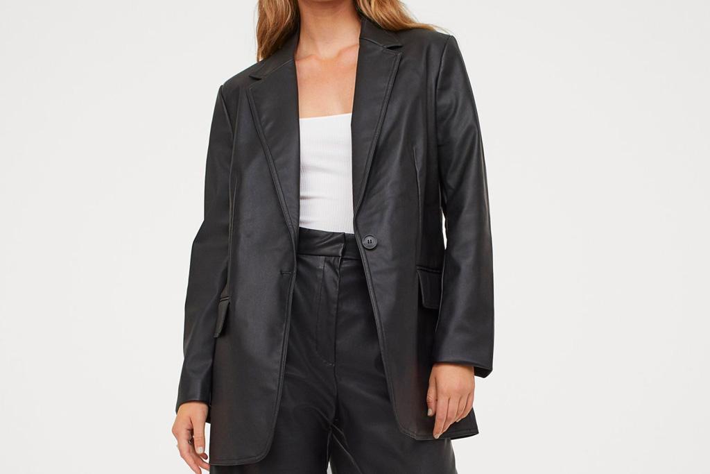 leather blazer, blazer, faux leather, fall, h&M
