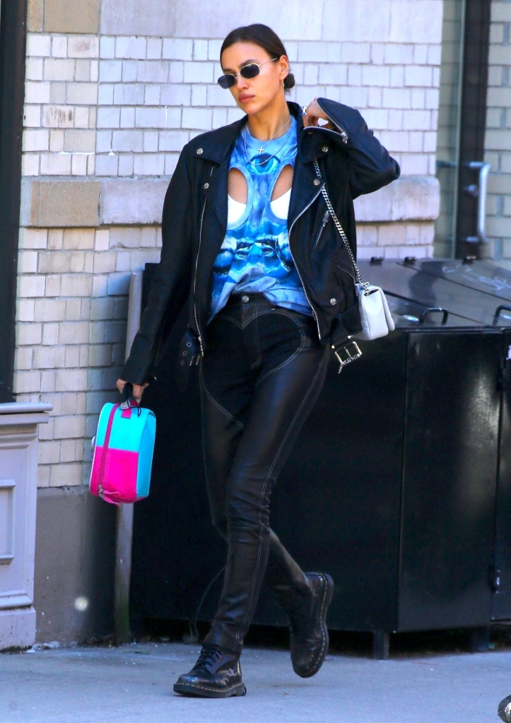 irina shayk, cutout shirt, leather, pants, leggings, boots, dr martens, tie-dye, style, new york