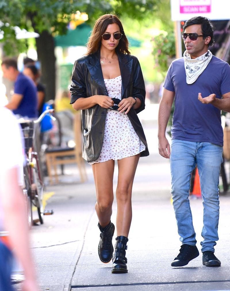 irina shayk, boots, dress, blazer, leather