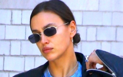 irina shayk, cutout shirt, leather, pants,