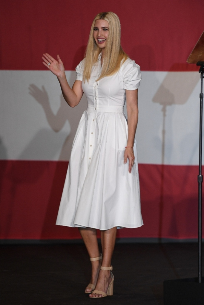 ivanka trump, white dress, heels, sandals, miami, florida, dress