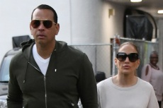 J-Lo Models A-Rod's New Sneakers in the Comfiest Neon-Striped Sweats