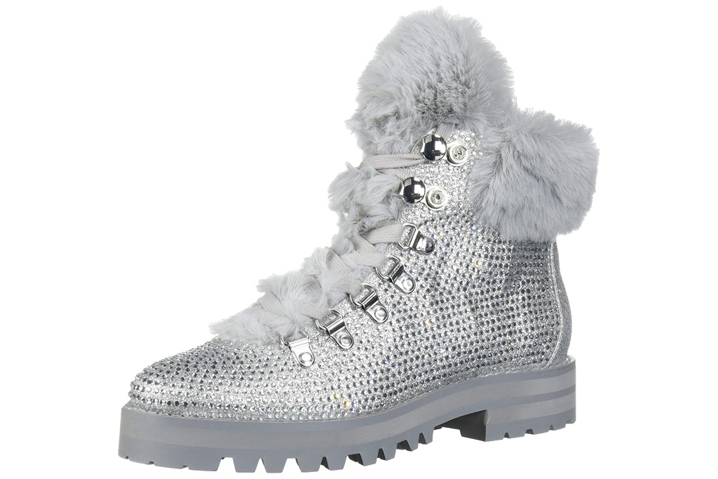 crystal boots, silver, jessica simpson