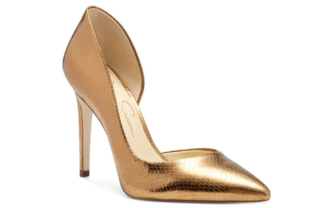 heels, metallic pumps, jessica simpso