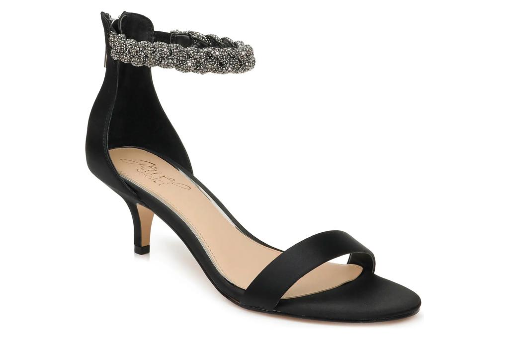 black, heels, sandals, glitter,  jewel, badgley mischka