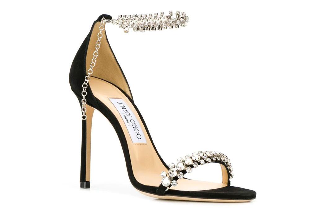 jimmy choo, heels, sandals, glittering, black, rhinestone