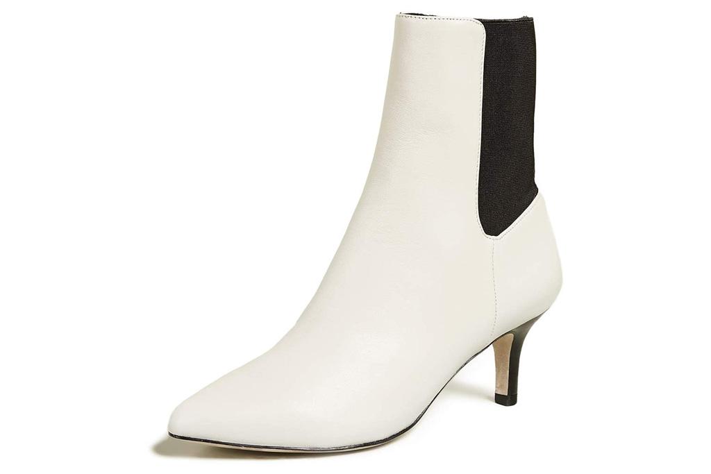 white boots, booties, heels, joie