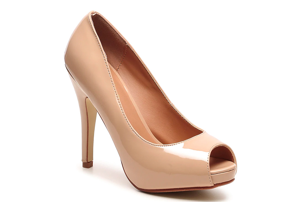 nude, pumps, peep toe, heels, journee