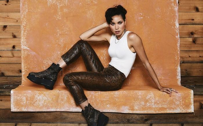 jurnee smollett, actress, style, shoes, dress, shirt, pants, boots, stylecaster