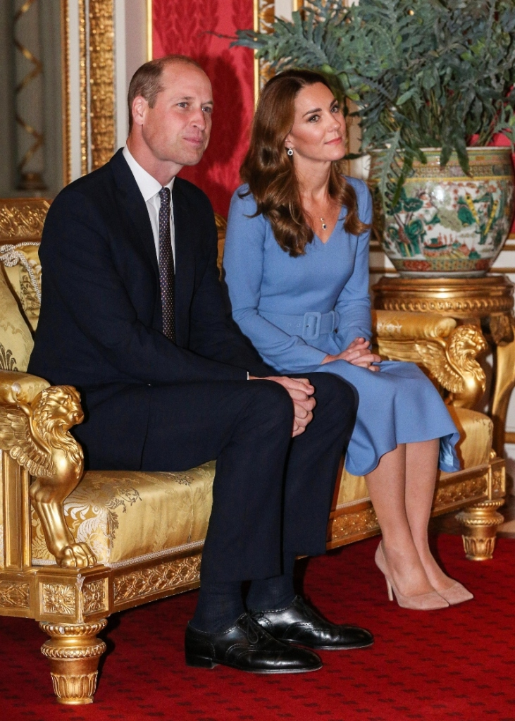 prince william, kate middleton, blue dress, suede heels, nude pumps