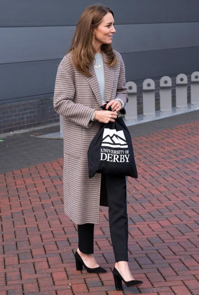 kate middleton, coat, sweater, pants, university of derby, england, duchess, massimo dutti