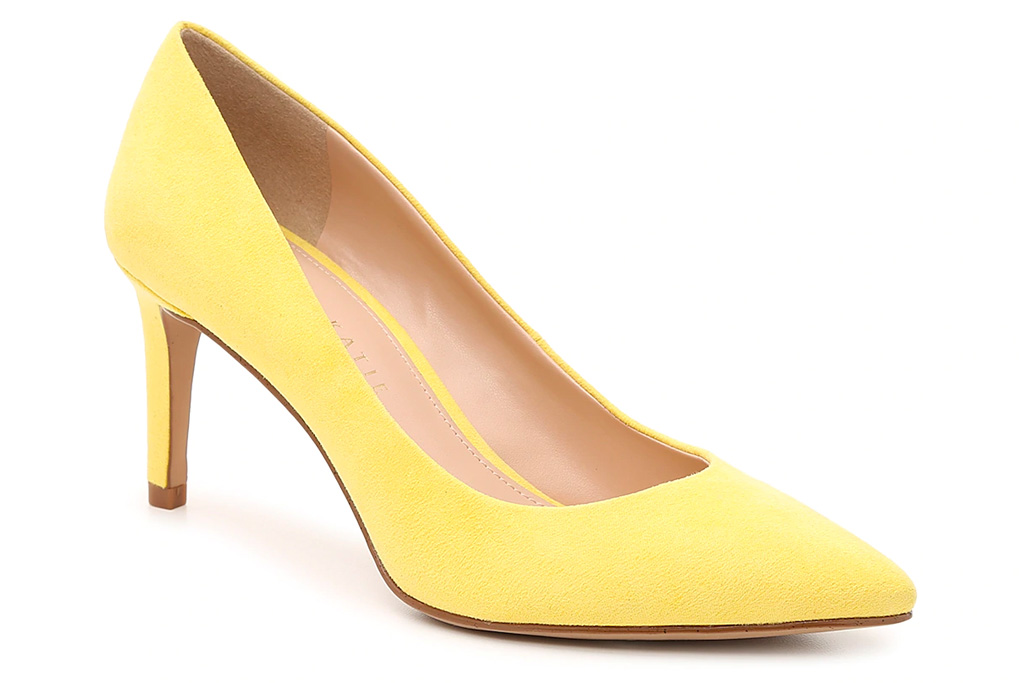 yellow, heels, pumps, stiletto, kelly and katie